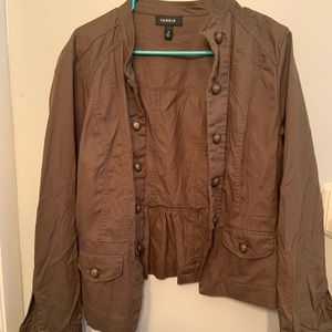 torrid button up light jacket with brass detail